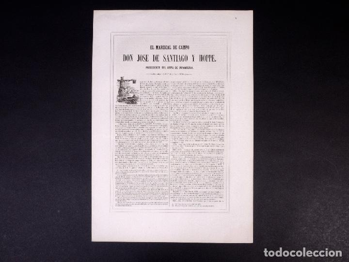 Militaria: MILITAR D. JOSÉ DE SANTIAGO Y HOPPE. MARISCAL DE CAMPO 1854 - Foto 3 - 194884962