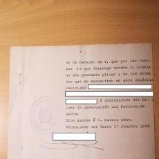 Militaria: DOCUMENTO TRASLADO DE DETENIDOS, BURGUILLOS DEL CERRO, BADAJOZ, AÑO 1942. Lote 194915593