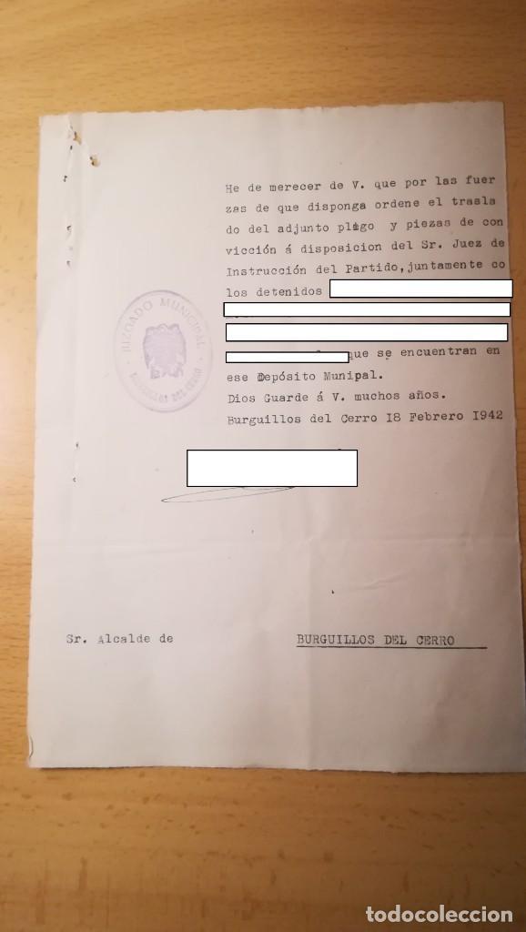 DOCUMENTO TRASLADO DE DETENIDOS, BURGUILLOS DEL CERRO, BADAJOZ, AÑO 1942 (Militar - Propaganda y Documentos)