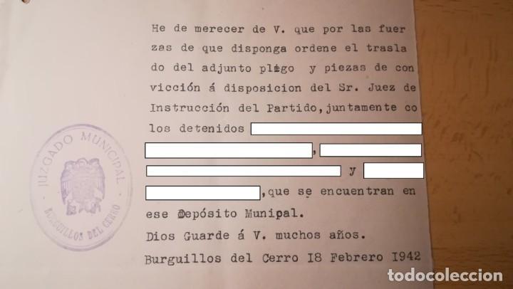 Militaria: DOCUMENTO TRASLADO DE DETENIDOS, BURGUILLOS DEL CERRO, BADAJOZ, AÑO 1942 - Foto 3 - 194916120