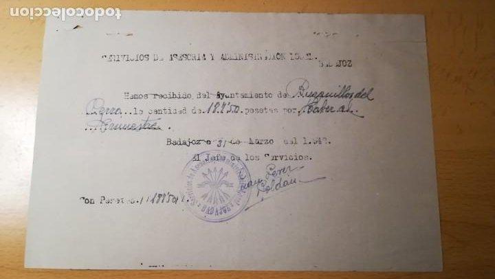 RECIBO DE COBRO, FALANGE, BURGUILLOS DEL CERRO, BADAJOZ, AÑO 1942 (Militar - Propaganda y Documentos)