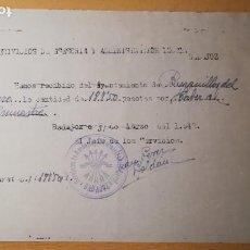 Militaria: RECIBO DE COBRO, FALANGE, BURGUILLOS DEL CERRO, BADAJOZ, AÑO 1942. Lote 194980860
