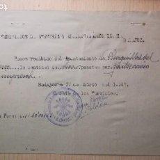 Militaria: RECIBO DE COBRO, FALANGE, BURGUILLOS DEL CERRO, BADAJOZ, AÑO 1942. Lote 194981002