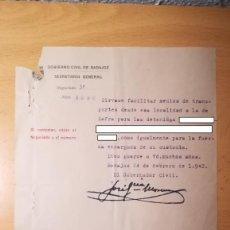 Militaria: DOCUMENTO TRASLADO DE PRESAS DESDE BURGUILLOS DEL CERRO A ZAFRA, BADAJOZ, AÑO 1942. Lote 194981443