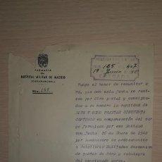 Militaria: DOCUMENTO HOSPITAL MILITAR DE MADRID, CARABANCHEL, BURGUILLOS DEL CERRO, BADAJOZ, AÑO 1942. Lote 194983231