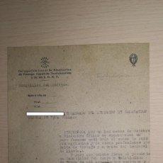 Militaria: DOCUMENTO DELEGACION LOCAL DE SINDICATOS, FALANGE, BURGUILLOS DEL CERRO, BADAJOZ, AÑO 1943. Lote 194983528