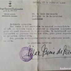 Militaria: FALANGE ESPAÑOLA,SECCION FEMENINA FIRMA ORIGINAL PILAR PRIMO DE RIVERA-HERMANA DE JOSE ANTONIO,1949.. Lote 195012973