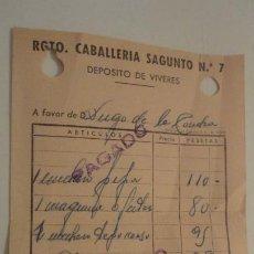 Militaria: ANTIGUO RECIBO DE PAGO.DEPOSITO VIVERES.REGIMIENTO CABALLERIA SAGUNTO Nº 7. 1952. Lote 195043628