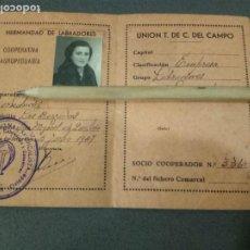 Militaria: CARNET TRABAJADORA DE COOPERATIVA DEL CAMPO.CNS FRANCO.. Lote 195046817