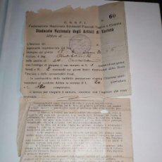 Militaria: DOCUMENTO CONTRATO ESPECTÁCULO DE LA FEDERACIÓN NACIONAL SINDICAL FASCISTA DEL TEATRO CINEMA 1931. Lote 195047372