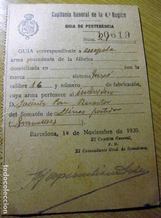 COMPAÑIA GENERAL 4 REGION . GUIA DE PERTENENCIA DE ARMA ESCOPETA DEL SOMATEN DE LLINARS (Militar - Propaganda y Documentos)