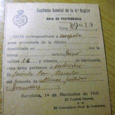Militaria: COMPAÑIA GENERAL 4 REGION . GUIA DE PERTENENCIA DE ARMA ESCOPETA DEL SOMATEN DE LLINARS . Lote 195055601