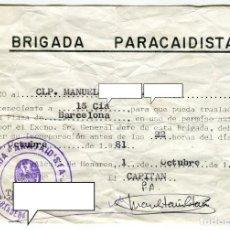 Militaria: BRIGADA PARACAIDISTA PERRMISO A CLP CON CUÑO DE LA III BANDERA FECHADO EN OCTUBRE DE 1981. Lote 195155442