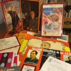 Militaria: FALANGE DE LA JONS,FRANCO, DIVISIÓN AZULLOTE DE FOLLETOS Y PUBLICIDAD AÑOS 80, TOMELLOSO Y ALBACETE . Lote 195230306