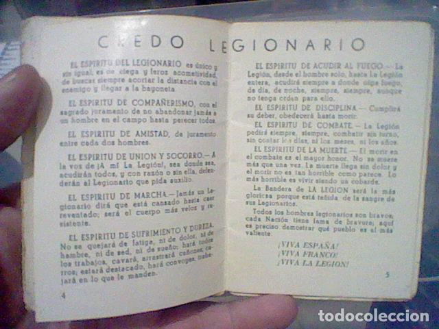 Militaria: LEGION CREDO E HIMNOS LEGIONARIOS LIBRITO MUY SOBADO 28 PAG 11 X 8 CMS - Foto 5 - 195303467