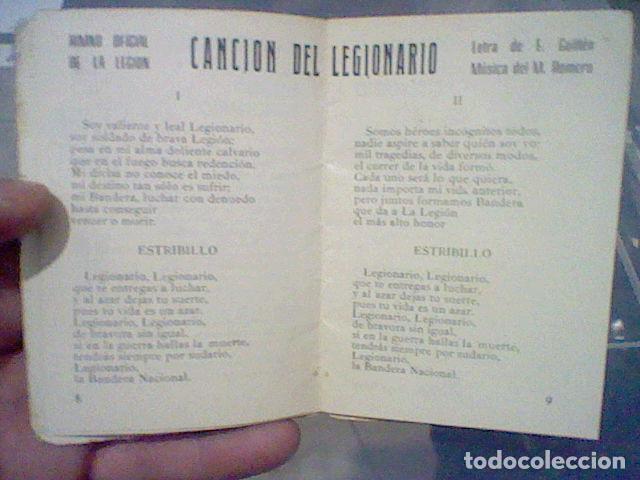 Militaria: LEGION CREDO E HIMNOS LEGIONARIOS LIBRITO MUY SOBADO 28 PAG 11 X 8 CMS - Foto 6 - 195303467