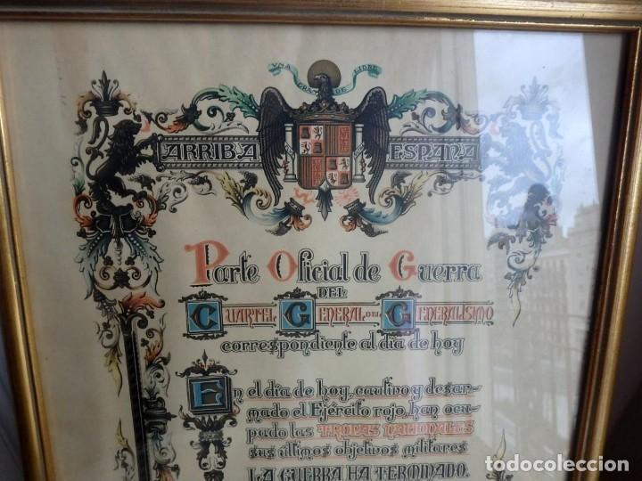 (JX-200280)PARTE OFICIAL DE GUERRA DEL CUARTEL GENERAL DEL GENERALÍSIMO. BURGOS 1º DE ABRIL DE 1939. (Militar - Propaganda y Documentos)