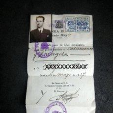 Militaria: (JX-200281)SALVOCONDUCTO PARA PODER VIAJAR DE SEVILLA A SALAMANCA Y ZARAGOZA, VIÑETAS , SEVILLA .. Lote 195318761