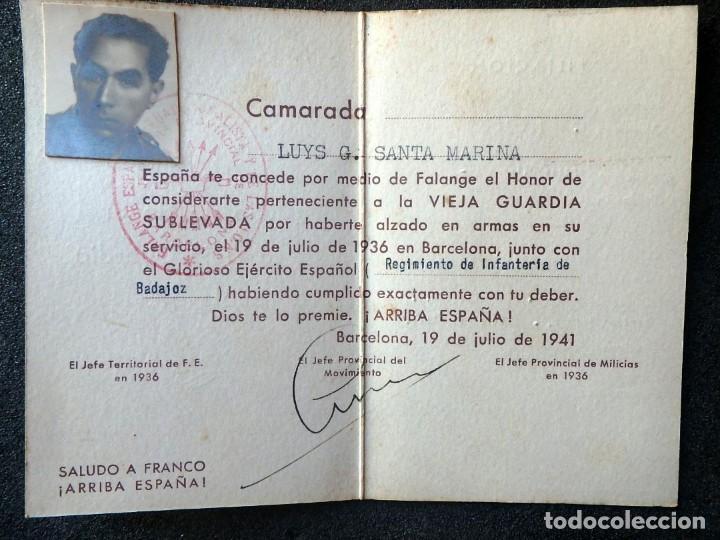(JX-200250)TITULO DE HONOR DE LA VIEJA GUARDIA SUBLEVADA A FAVOR DE D.LUYS G.SANTA MARINA . FALANGE (Militar - Propaganda y Documentos)