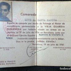 Militaria: (JX-200250)TITULO DE HONOR DE LA VIEJA GUARDIA SUBLEVADA A FAVOR DE D.LUYS G.SANTA MARINA . FALANGE. Lote 195346463