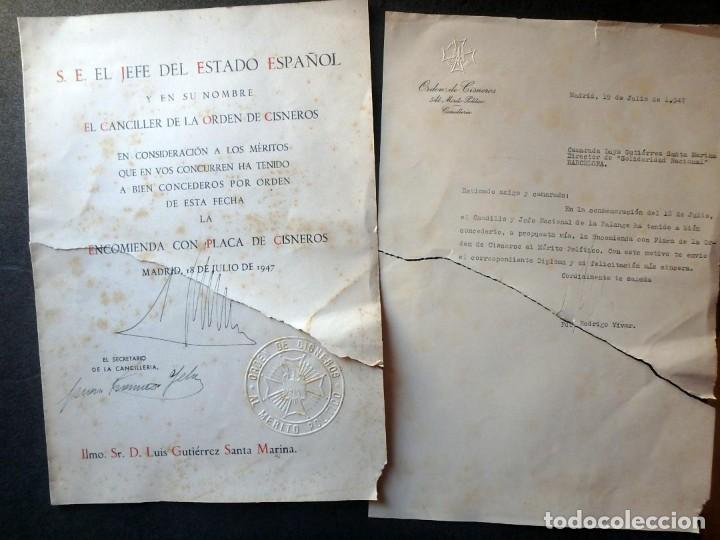 (JX-200252)CONCESIÓN DE LA ENCOMIENDA CON PLACA DE LA ORDEN DE CISNEROS A D.LUIS G.SANTA MARINA . (Militar - Propaganda y Documentos)