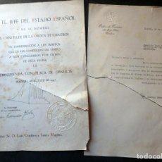Militaria: (JX-200252)CONCESIÓN DE LA ENCOMIENDA CON PLACA DE LA ORDEN DE CISNEROS A D.LUIS G.SANTA MARINA .. Lote 195346537