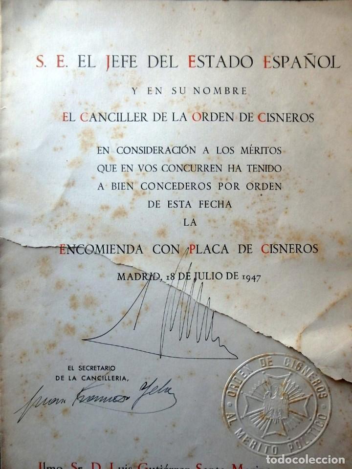 Militaria: (JX-200252)Concesión de la Encomienda con Placa de la Orden de Cisneros a D.Luis G.Santa Marina . - Foto 2 - 195346537