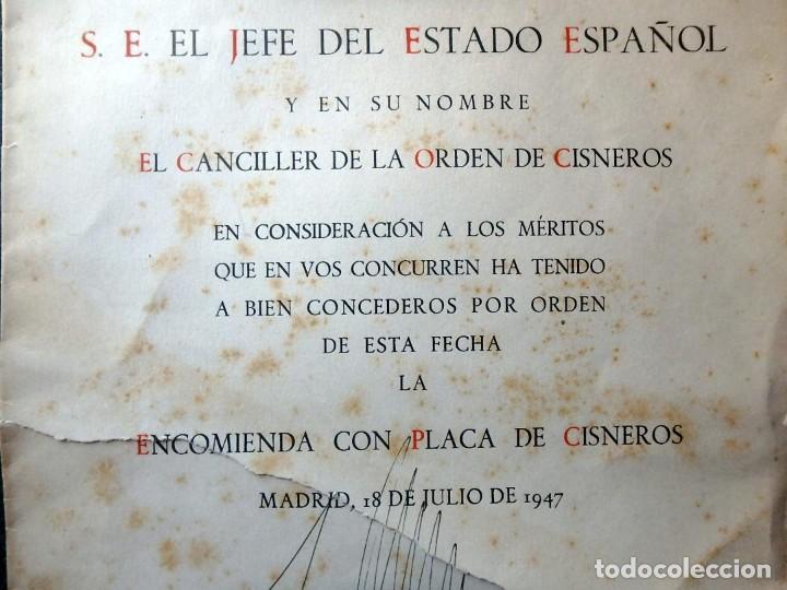 Militaria: (JX-200252)Concesión de la Encomienda con Placa de la Orden de Cisneros a D.Luis G.Santa Marina . - Foto 4 - 195346537
