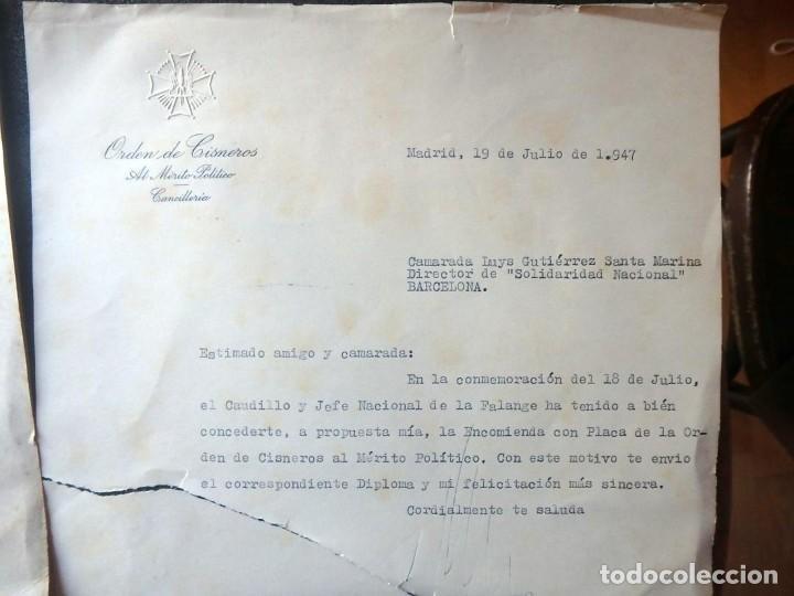 Militaria: (JX-200252)Concesión de la Encomienda con Placa de la Orden de Cisneros a D.Luis G.Santa Marina . - Foto 5 - 195346537