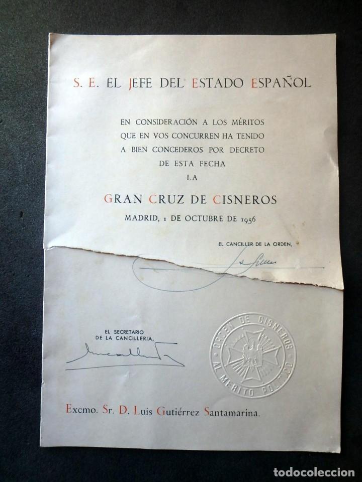 (JX-200253)CONCESIÓN DE LA GRAN CRUZ DE LA ORDEN DE CISNEROS A D.LUIS G.SANTA MARINA . (Militar - Propaganda y Documentos)
