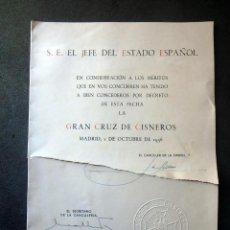 Militaria: (JX-200253)CONCESIÓN DE LA GRAN CRUZ DE LA ORDEN DE CISNEROS A D.LUIS G.SANTA MARINA .. Lote 195346573