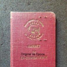 Militaria: (JX-200260)GUERRA CIVIL,CARNET DE EX-COMBATIENTE, DELEGACIÓN PROVINCIAL DE EX-COMBATIENTES DE F.E.T.. Lote 195366557