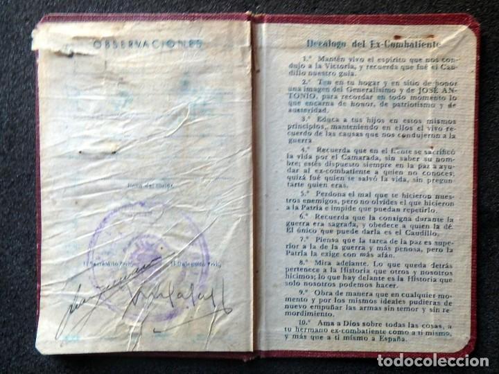Militaria: (JX-200260)GUERRA CIVIL,CARNET DE EX-COMBATIENTE, DELEGACIÓN PROVINCIAL DE EX-COMBATIENTES DE F.E.T. - Foto 6 - 195366557