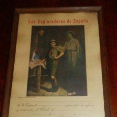 Militaria: DIPLOMA DE LOS EXPLORADORES DE ESPAÑA, BOY SCOUTS, EDITADO POR EL ROPERO ESCULTISTA, ENMARCADO, MIDE. Lote 195368001