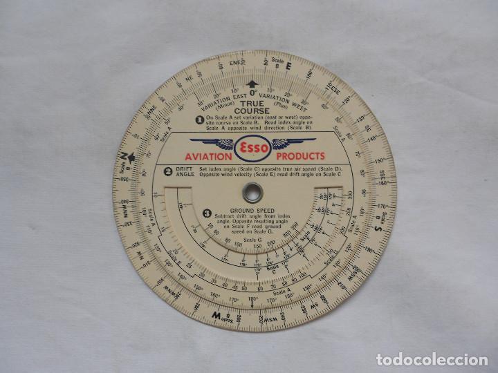 ESSO AVIATION PRODUCTS VINTAGE CIRCULAR SLIDE RULE FLIGHT AVIATION PLAN - RARO (Militar - Propaganda y Documentos)