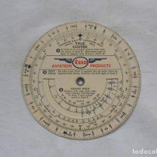 Militaria: ESSO AVIATION PRODUCTS VINTAGE CIRCULAR SLIDE RULE FLIGHT AVIATION PLAN - RARO. Lote 195374795