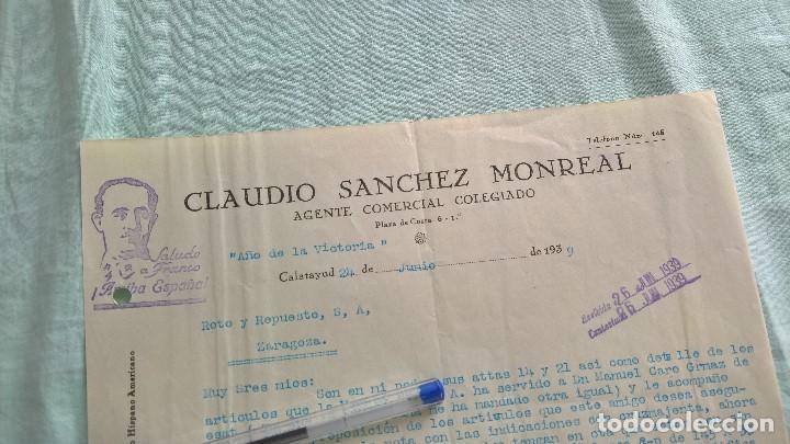 AÑO DE LA VICTORIA..1939..CLAUIDIO SANCHEZ..AGENTE COMERCIAL..CALATAYUD. (Militar - Propaganda y Documentos)