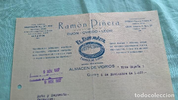 VIVA ESPAÑA..1937..GIJON..EL ESPEJO AZUL..ALMACEN DE VIDRIOS..VIVA FRANCO. (Militar - Propaganda y Documentos)