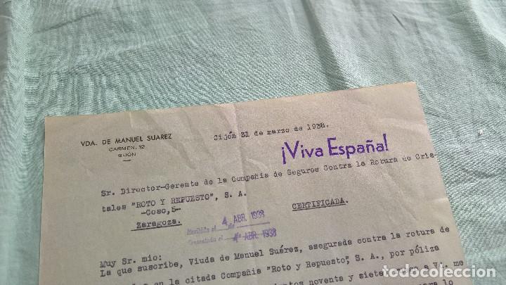 VIVA ESPAÑA..GIJON..1938..VDA.MANUEL SUAREZ. (Militar - Propaganda y Documentos)