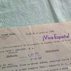 Militaria: VIVA ESPAÑA..GIJON..1938..VDA.MANUEL SUAREZ.. Lote 195382252