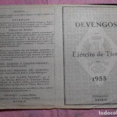 Militaria: SUELDOS MILITARES DEL EJERCITO DE TIERRA EN 1955. DESDE TTE GRAL HASTA SARGENTO. Lote 195503577