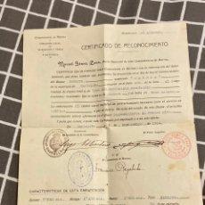 Militaria: CERTIFICADO RECONOCIMIENTO BUQUE TERESA 1914. Lote 195514300