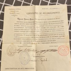 Militaria: CERTIFICADO RECONOCIMIENTO BUQUE ROSA 1914. Lote 195514565