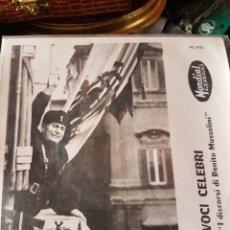 Militaria: DISCO DE LOS DISCURSOS DE MUSSOLINI. Lote 195534611