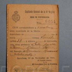 Militaria: GUÍA DE PERTENENCIA REVÓLVER DE UN CABO DE UN SOMATÉN DE SABADELL.1920. Lote 195536026