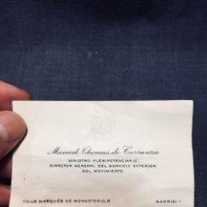 Militaria: MANUEL THOMAS DE CARRANZA MINISTRO PLENIPOTENCIARIO DTOR GRAL SVCIO EXTERIOR MOVIMIENTO DIPLOMATICO. Lote 196145372