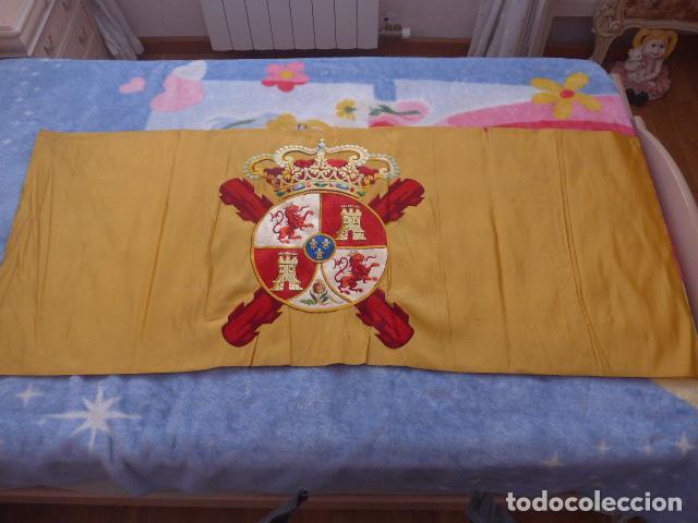 Militaria: * Antigua bandera española bordada a doble cara, preciosa, epoca de guerra Cuba. castells. ZX - Foto 2 - 196288867