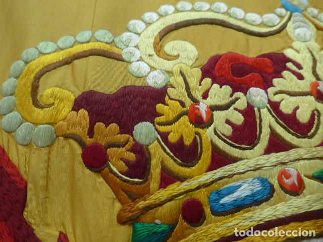 Militaria: * Antigua bandera española bordada a doble cara, preciosa, epoca de guerra Cuba. castells. ZX - Foto 3 - 196288867