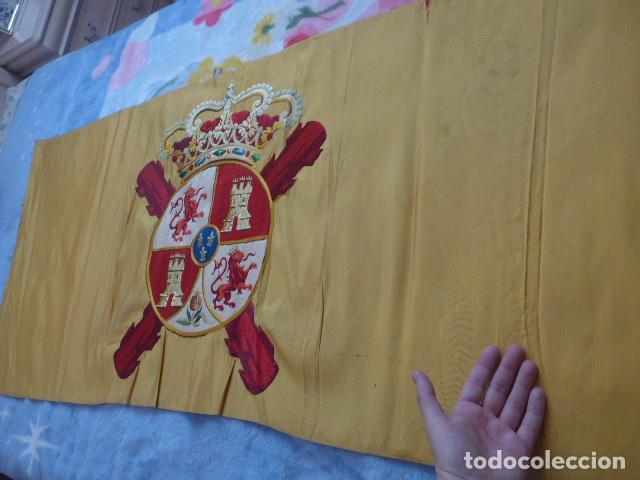 Militaria: * Antigua bandera española bordada a doble cara, preciosa, epoca de guerra Cuba. castells. ZX - Foto 8 - 196288867