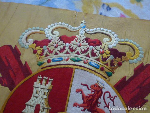 Militaria: * Antigua bandera española bordada a doble cara, preciosa, epoca de guerra Cuba. castells. ZX - Foto 10 - 196288867